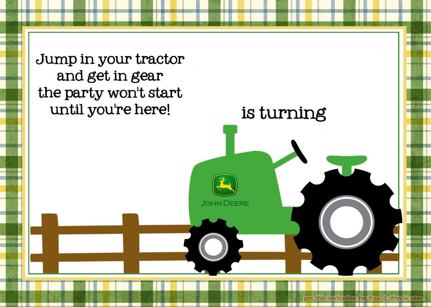 Nice Free Printable John Deere Tractor Birthday Invitation