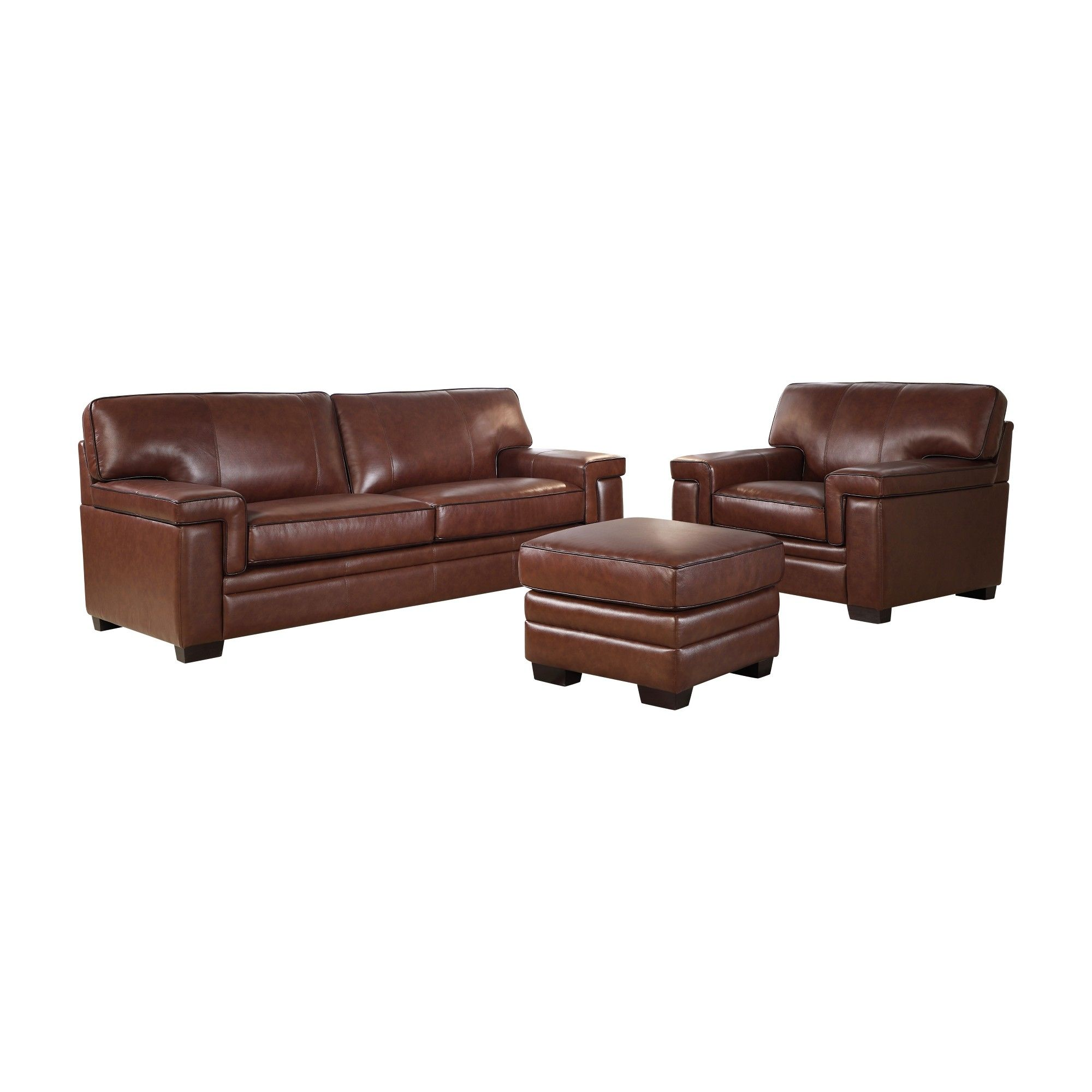 Excellent Evan Top Grain Leather Sofa Chair And Ottoman Set Brown Gmtry Best Dining Table And Chair Ideas Images Gmtryco
