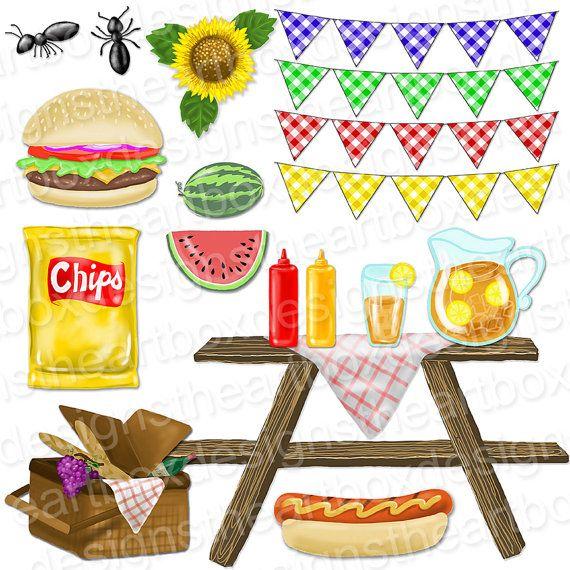 Picnic Clipart Summer Picnic Food Clipart Gingham Bunting Etsy Summer Picnic Food Picnic Food Summer Picnic