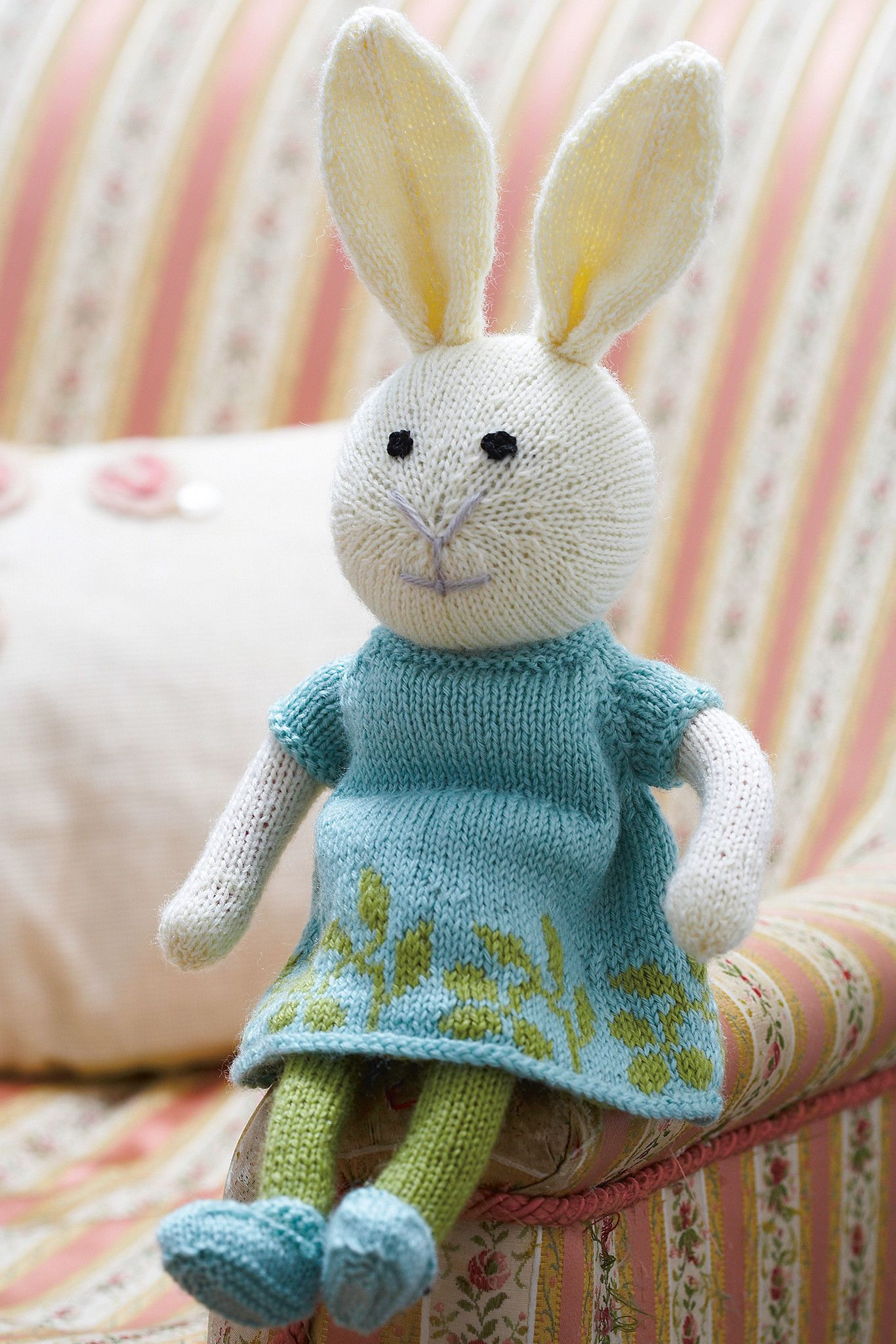 Bunny rabbit girl toy knitting pattern the knitting network knitted girl rabbit toy in cute patterned dress tights and shoes shop this knitting pattern now at the knitting network bankloansurffo Choice Image