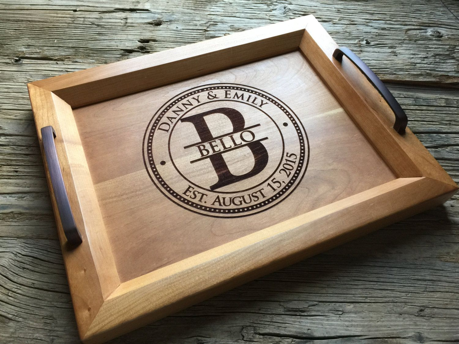 Personalized Wood Tray, Engraved Serving Tray Wedding