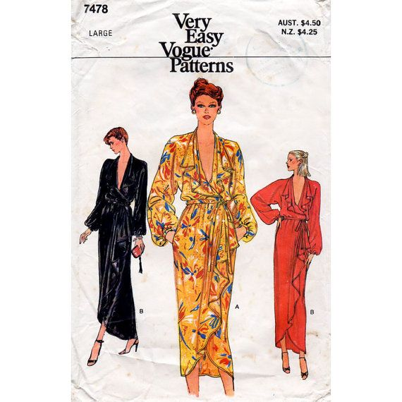1970s Front Wrap Dress Disco Era Vintage Sewing by BessieAndMaive, $22.00