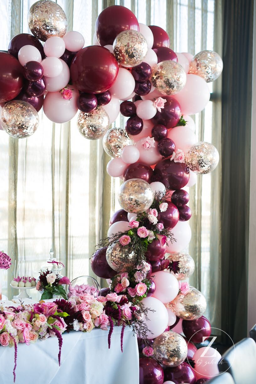 Gorgeous Balloon Arch In Pink Gold And Burgundy Arts Crafts