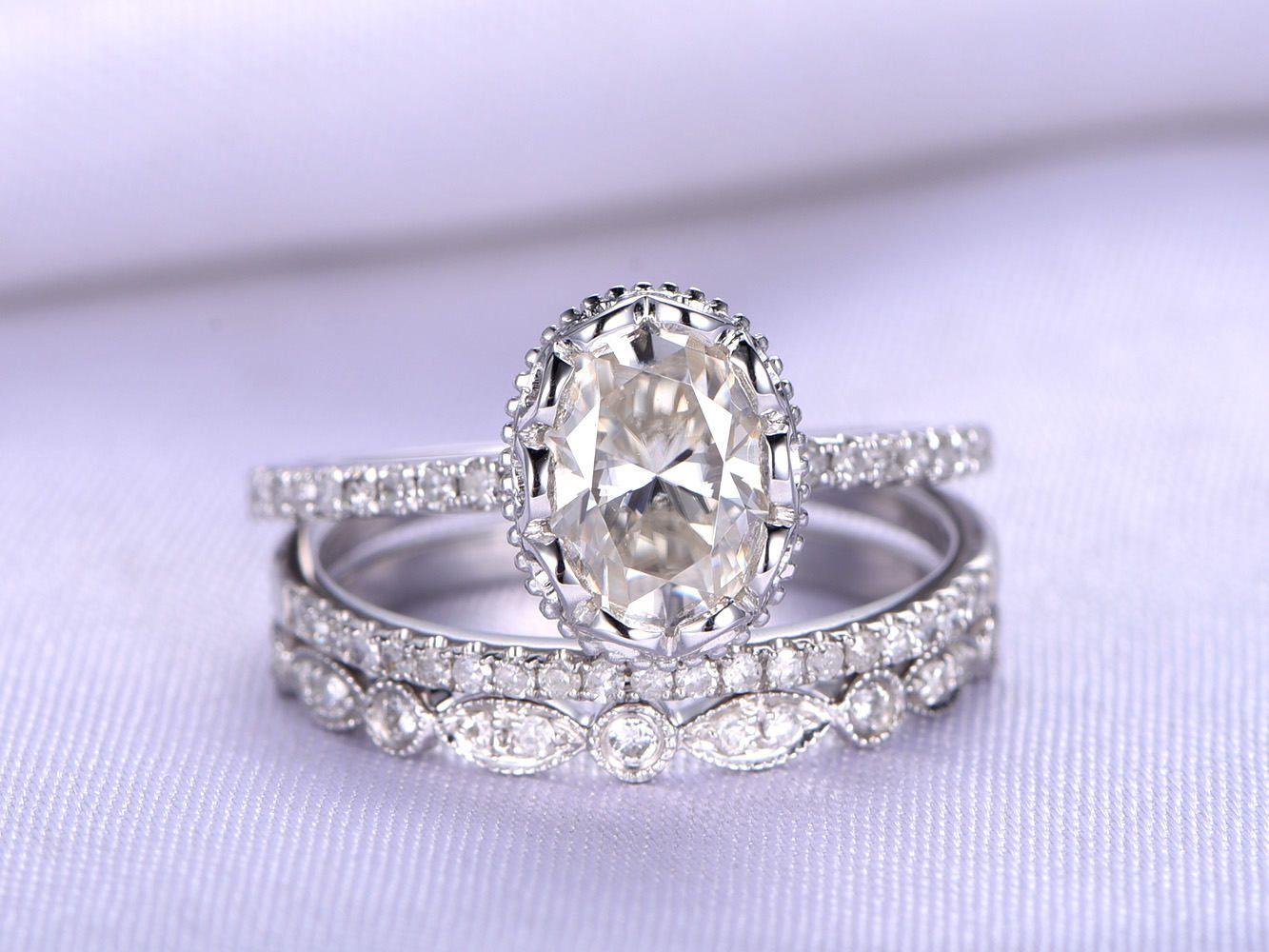 Wedding ring setmoissanite engagement ringxmm oval cut