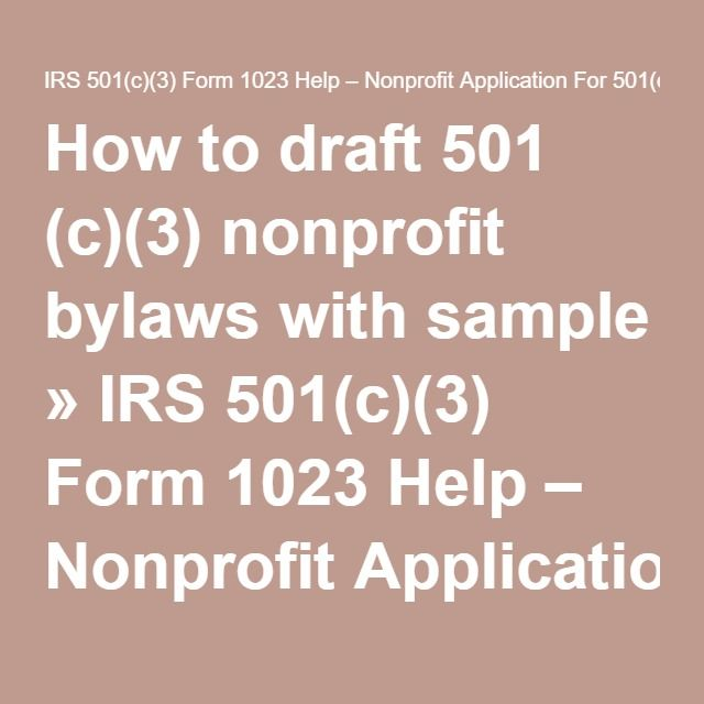 How To Draft  C Nonprofit Bylaws With Sample  Irs C