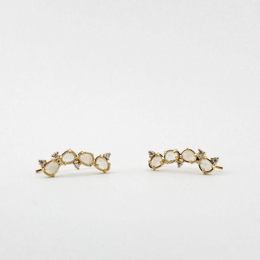 beddd39d9 Moonstone & Diamond Ear Climber Tai Jewelry, Climber, Earrings Handmade,  Earrings Crafts