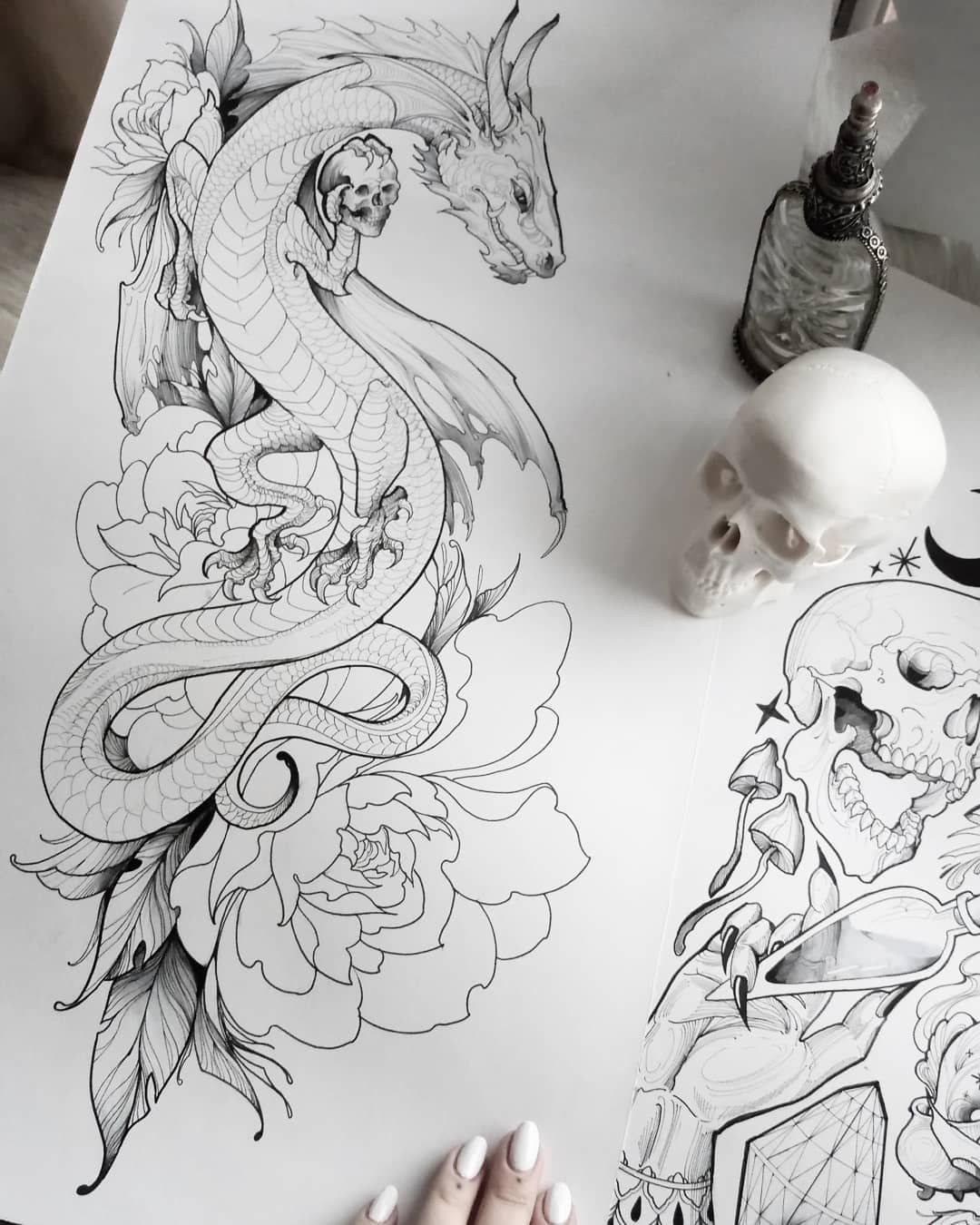 Line drawing joyness -   21 dragon tattoo sketch ideas