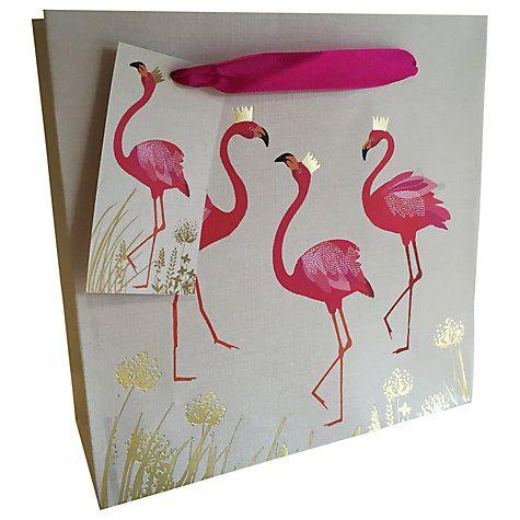 Sara Miller Gift Bag, Medium Cream | Flamingo, Bag and Gift