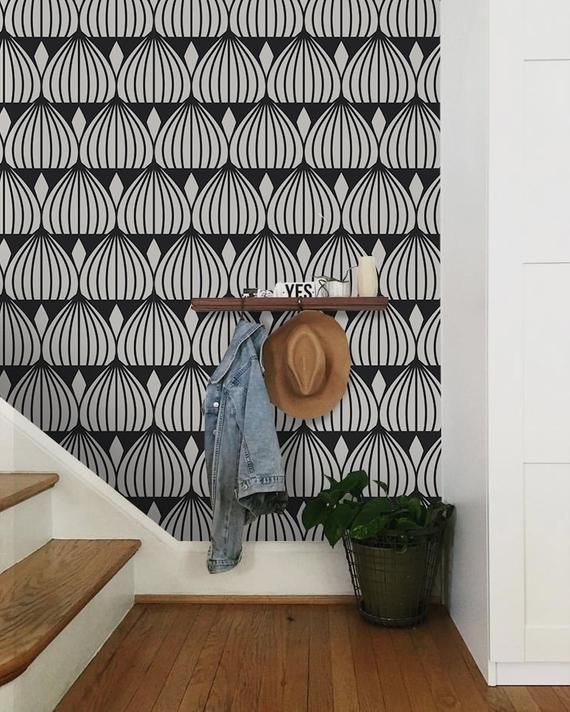 Muster Geometric Removable Wallpaper Gray And White Wall Mural Etsy Geometric Removable Wallpaper Removable Wallpaper Wall Murals