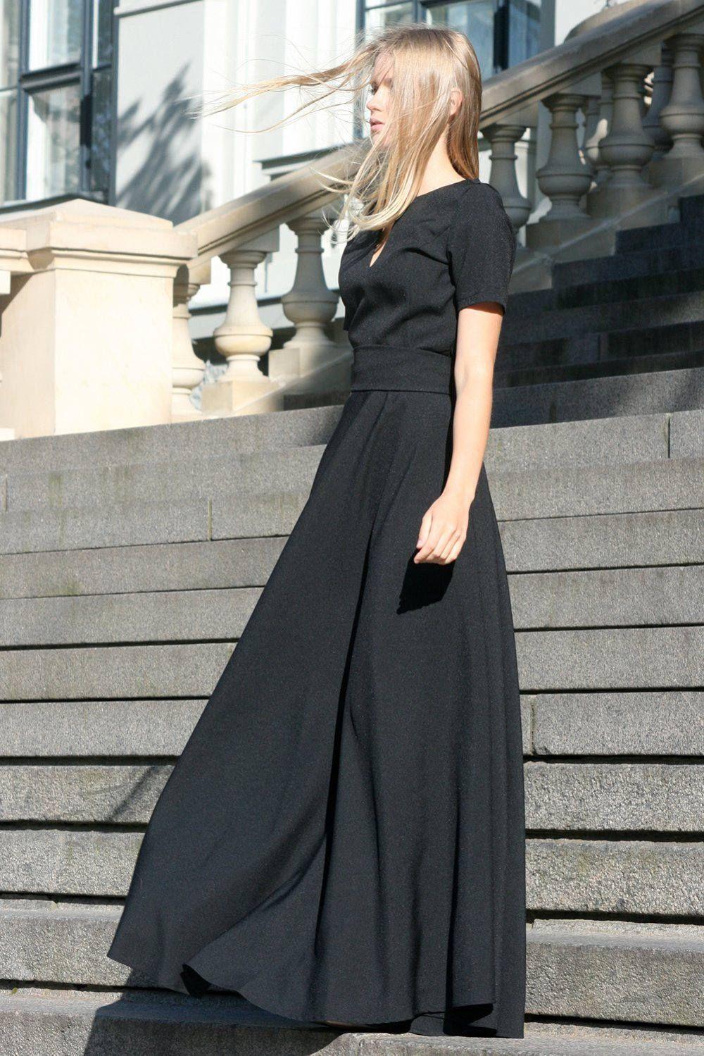 Maxi dress black dress gothic clothing vampire dress women dress