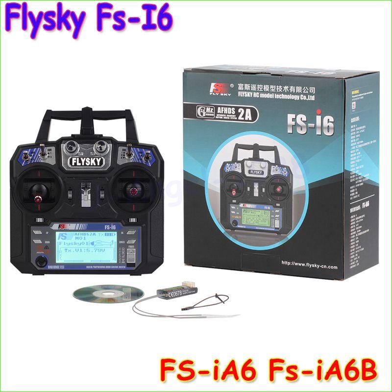 Groothandel FlySky FS-i6 2.4G 6CH AFHDS RC Zender Met FS-iA6 FS-iA6B Ontvanger voor Vliegtuig Heli UAV Multicopter Drone