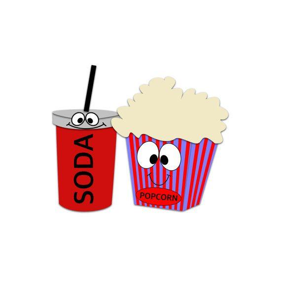 Movie soda. Popcorn character clipart snacks