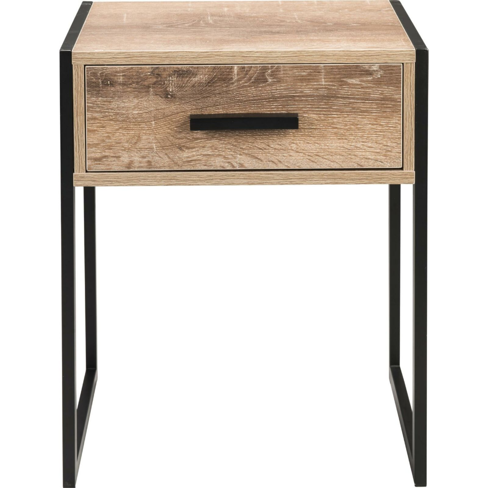 Stylish Industrial Bed Side Table Black Legs Wooden Top Draw Home