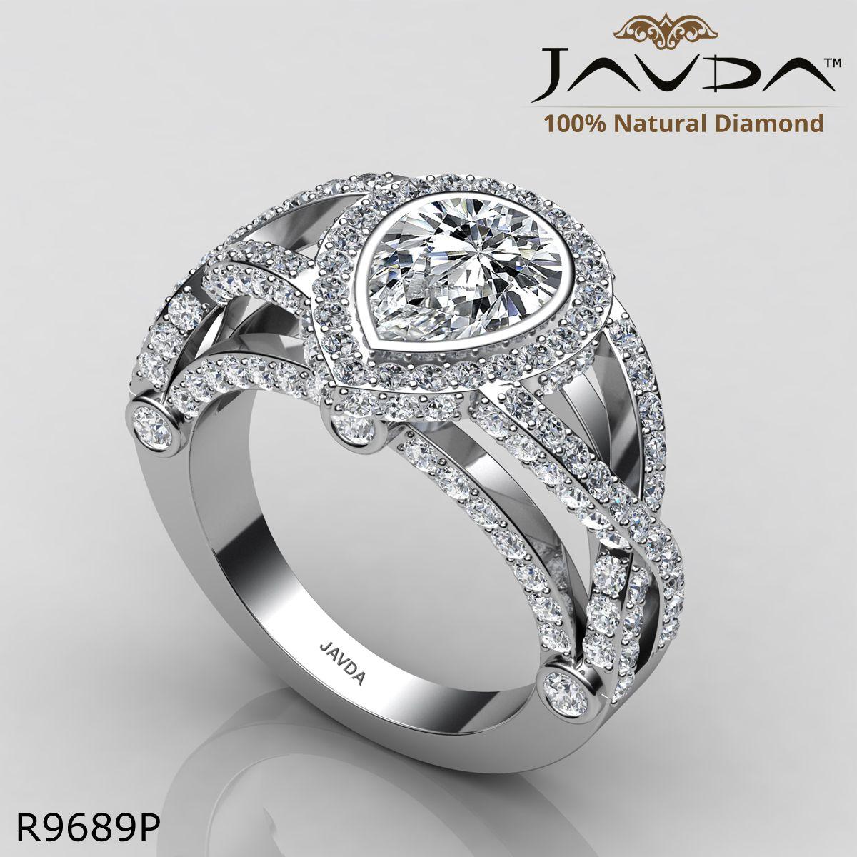 Bridge accent halo bezel pear diamond engagement ring k white gold