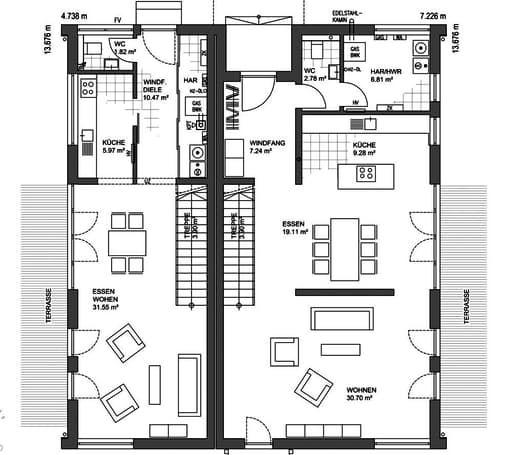 mh mannheim floor plans 1 doppelhaush lfte in 2019. Black Bedroom Furniture Sets. Home Design Ideas