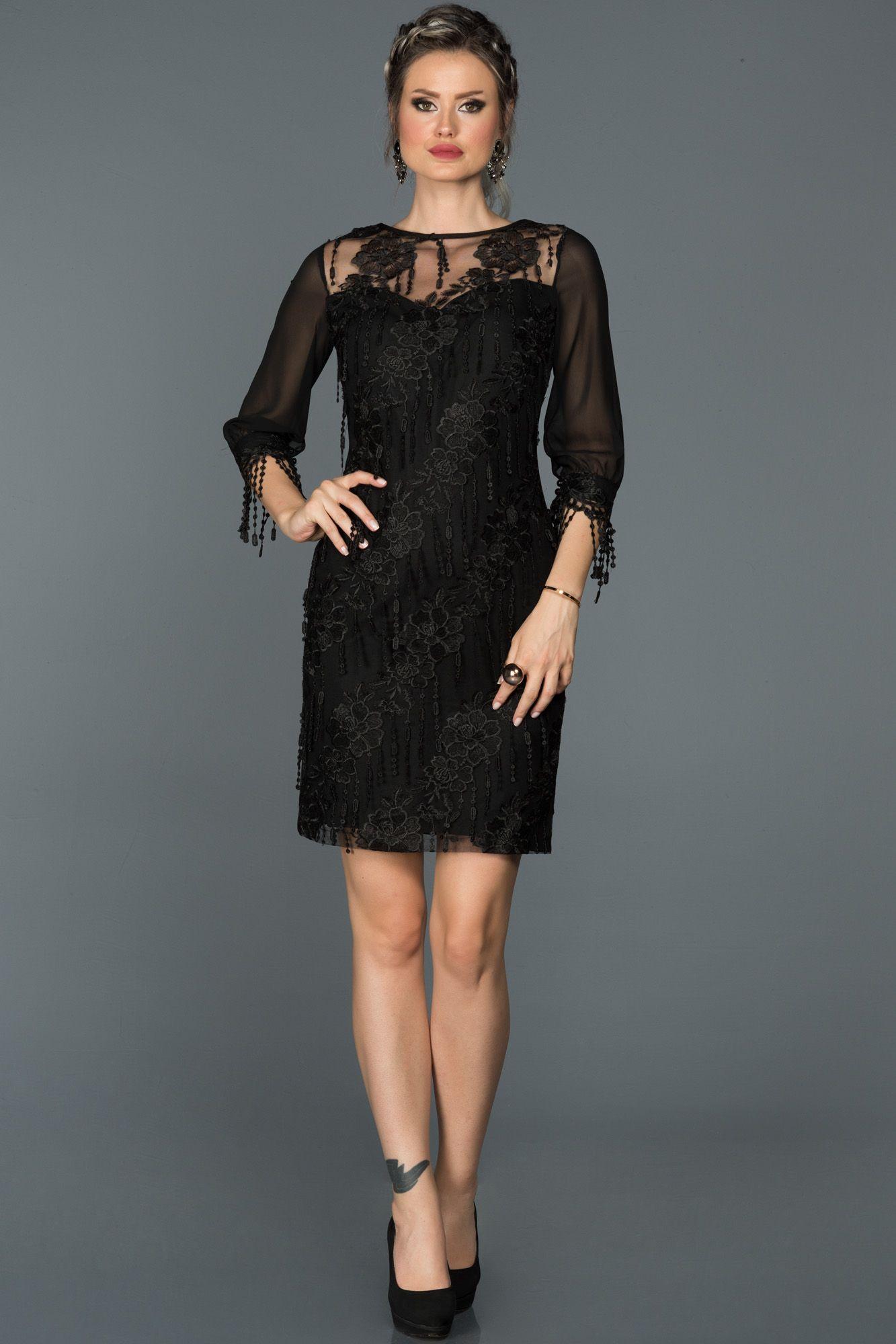Siyah Kapri Kol Puskullu Abiye Abk039 The Dress Elbiseler Elbise Modelleri