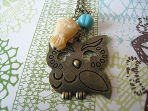 Copper owl necklace