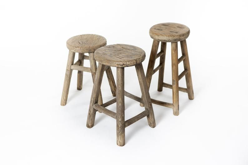 Fabulous Chinese Old Antique Round Wooden Stool 4 Legs Unique Etsy Pdpeps Interior Chair Design Pdpepsorg