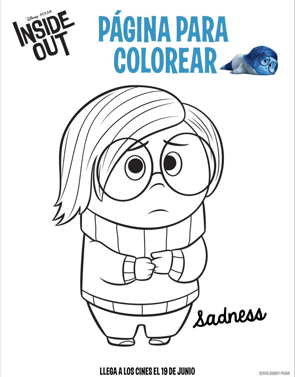 Disney Pixar Inside Out Sadness Coloring Sheet