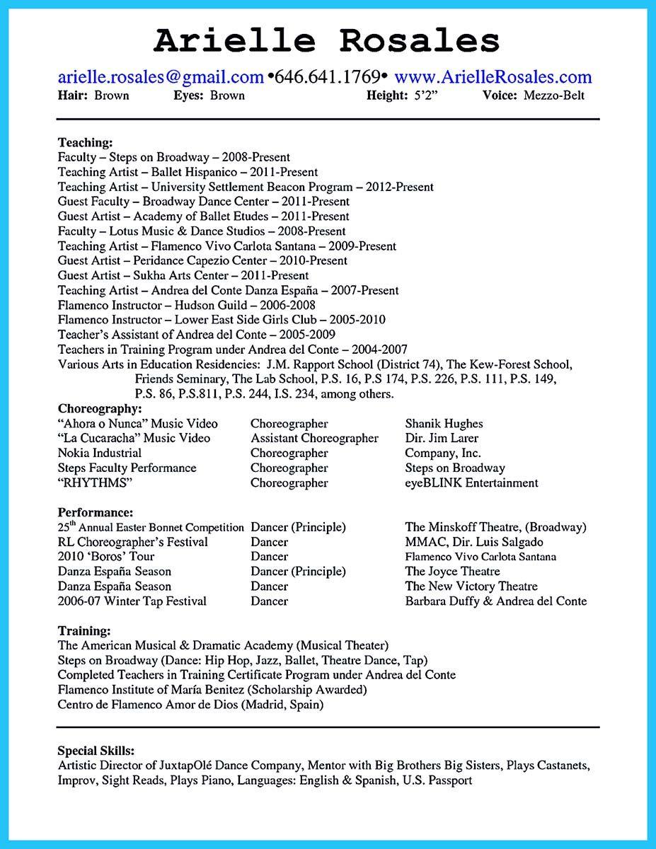 Nice The Best And Impressive Dance Resume Examples Collections Resume Examples Teacher Resume Dance Resume