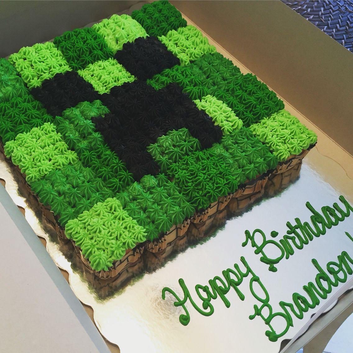 Minecraft Cupcake Pull Apart Minecraft Birthday Cake Minecraft Birthday Minecraft Birthday Party