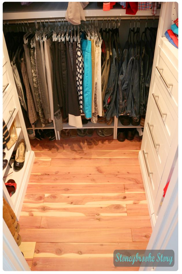 Cedar Plank Floor In Custom Closet Stoneybrooke Story