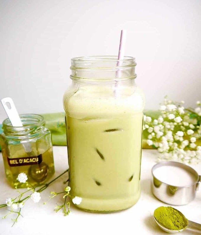 Iced Almond Milk Matcha Latte