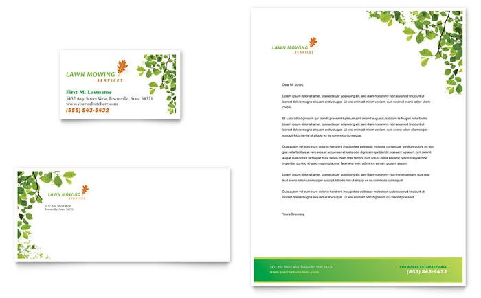 Lawn Mowing Service Business Card and Letterhead Template Design – Free Business Letterhead Templates Word