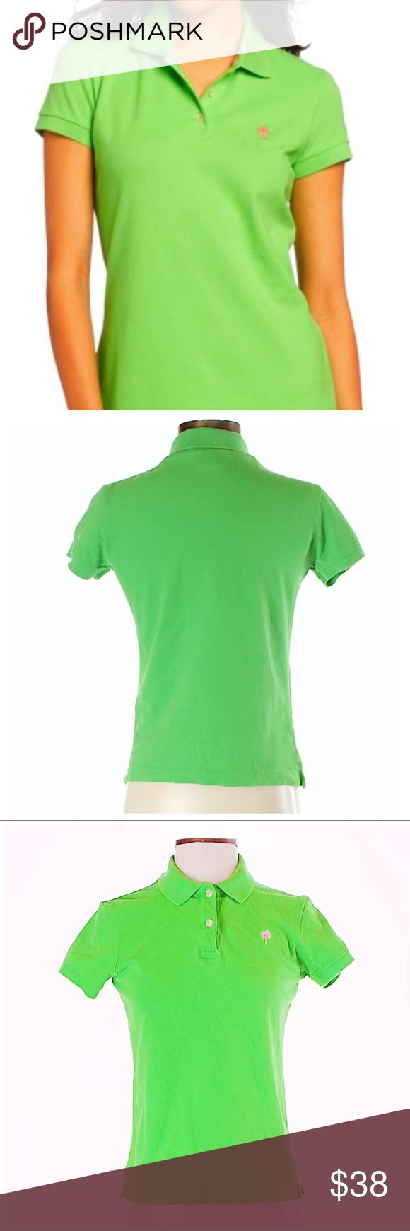 Lilly Pulitzer Green Polo Collar Shirt Pima Cotton My Posh Closet