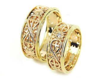 14k Gold Unique Wedding Bands Matching Rings