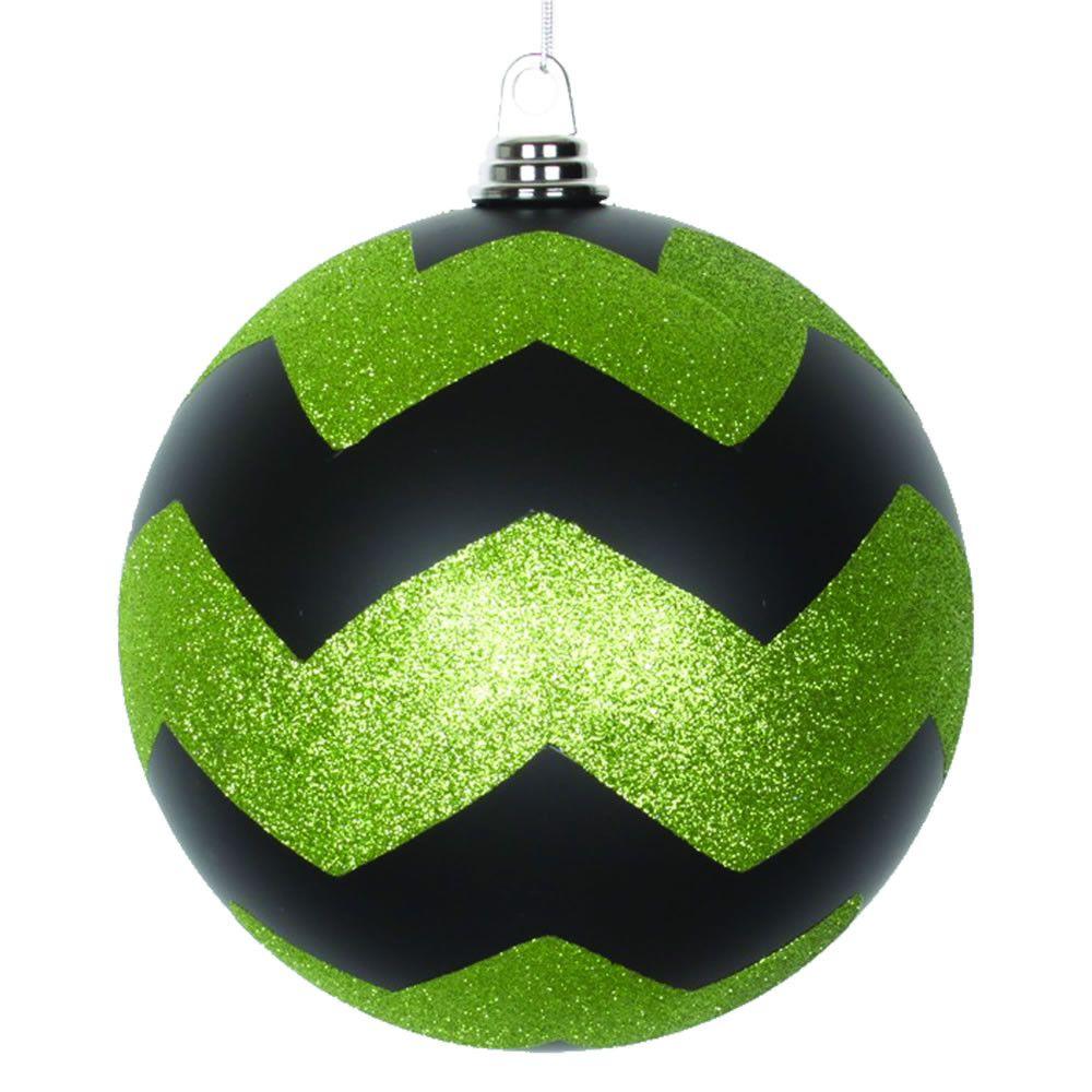 Glitter Chevron Ball Christmas Ornament