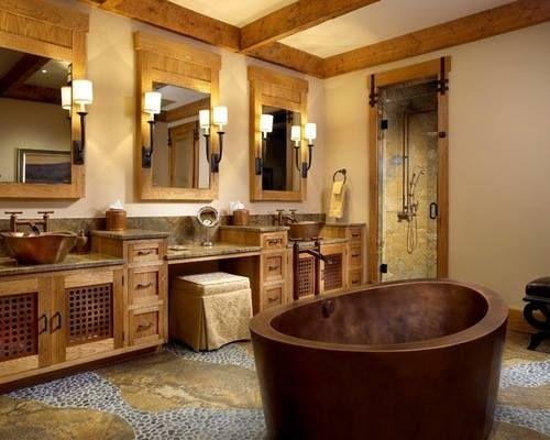 Rustikale #Badezimmerideen mit Holz und Kupfer <3 Mehr #Badezimmer ... | {Badezimmer ideen holz 57}