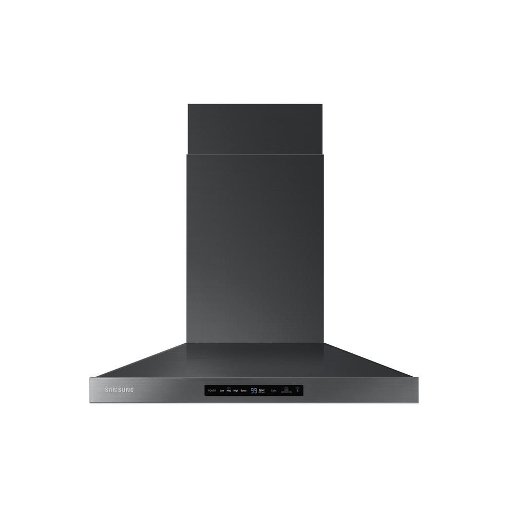 Samsung 30 in. Wall Mount Exterior Venting Range Hood in Black Stainless Steel with Wi-Fi