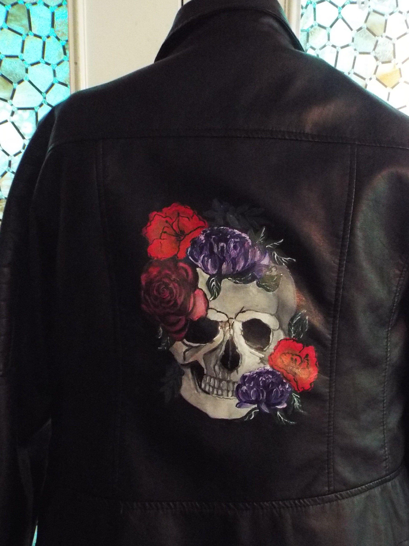 Painted Leather Moto Jacket Size Xxl Black Faux Leather W Etsy Leather Moto Jacket Leather Jacket Wedding Painting Leather [ 3000 x 2250 Pixel ]