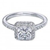 14K White Gold Pave Square Halo Engagement Ring