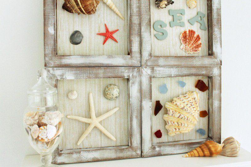 Panneau sur le thème marin avec coquillage