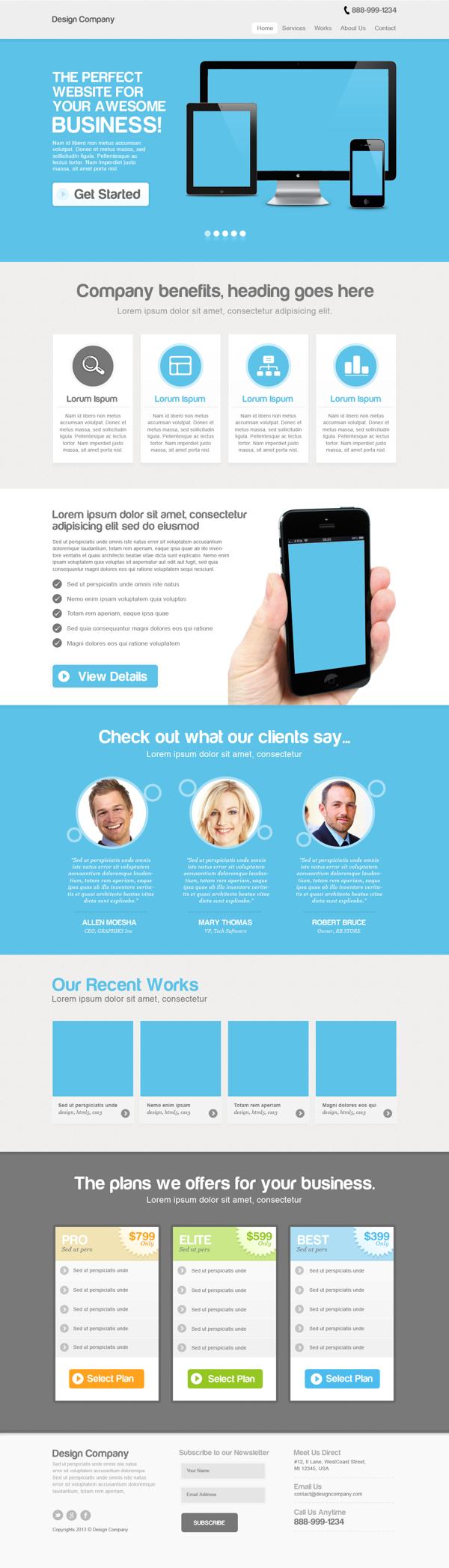 Single Page Website Design Concept For Sale By Cstudio Via Behance Website Design Concept Design Website Hosting