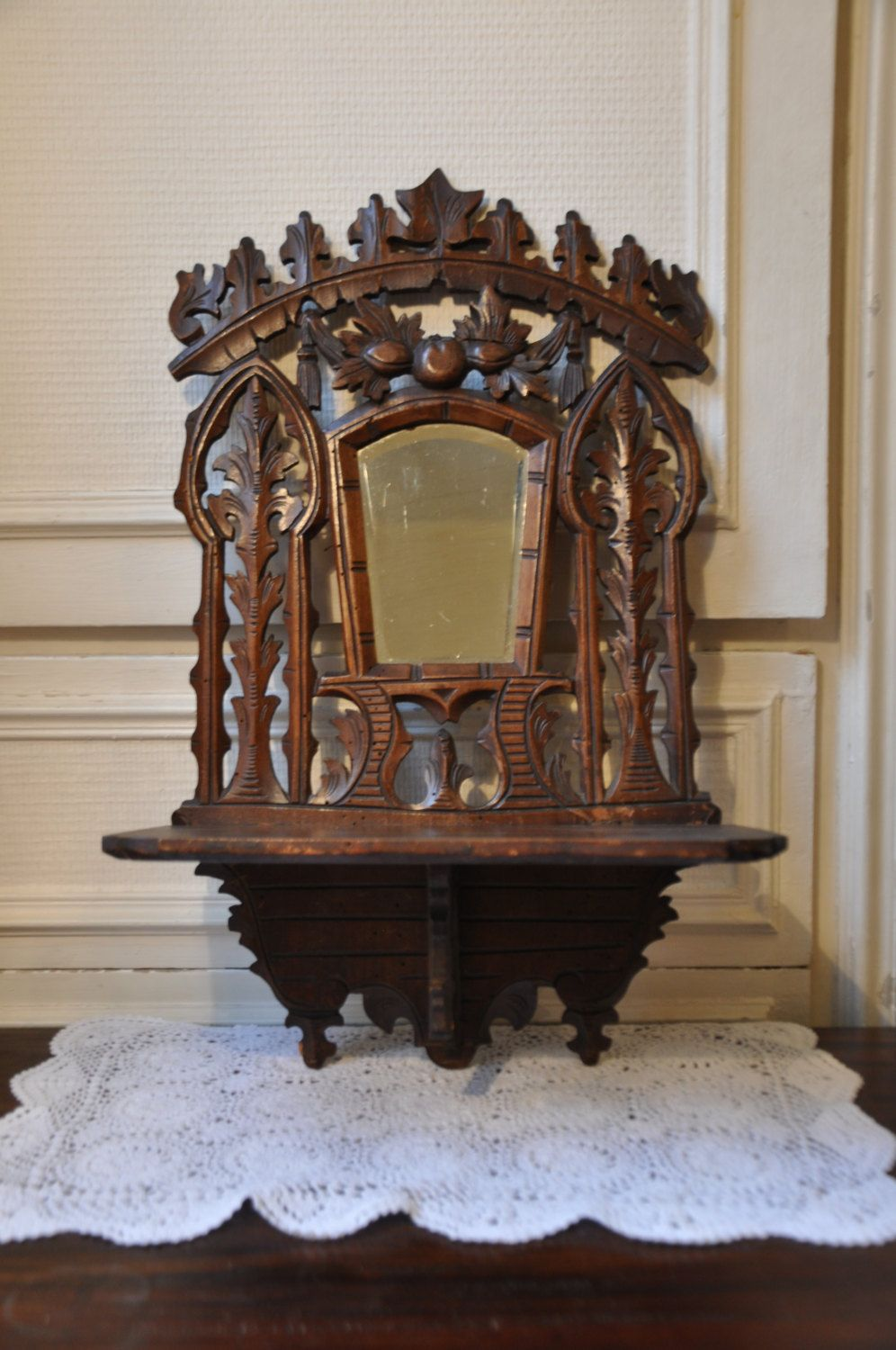 1800s Antique Carved Wooden Wall Shelf Solid Wood Display