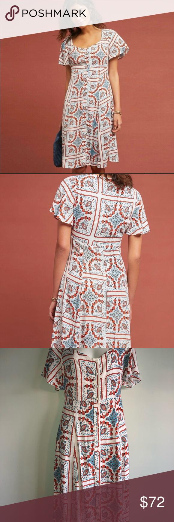 b11c00164148 Anthropologie Maeve Praslin Dress NWOT Maeve Praslin Flutter Sleeve Dress  for Anthropologie Size: 10 Condition