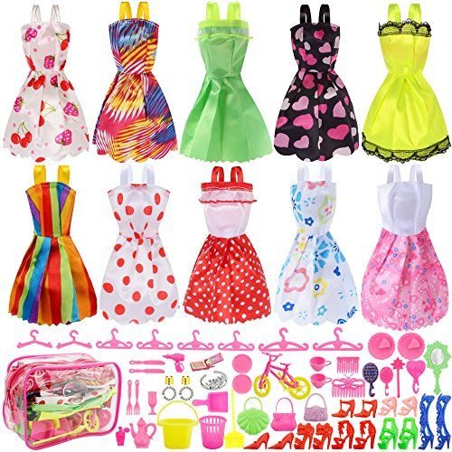 10 Pack Clothes Party Gown Outfits for Dressing up Barbie Dolls JANYUN Total 66pcs 55pcs Dolls Accessories Shoes Bags Necklace Mirror Hanger Tableware