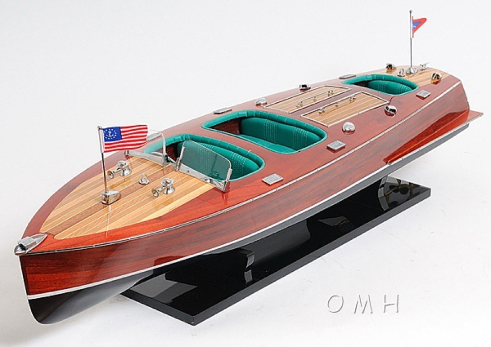 1930's Chris Craft Triple Cockpit Runabout Wooden Boat Model