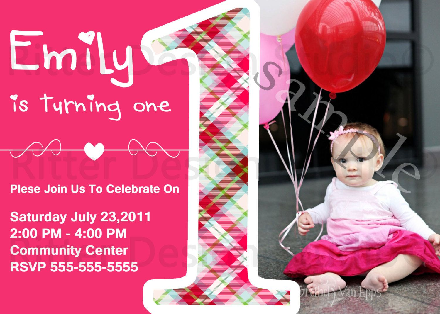 Baby Girl First Birthday Party Invitation - Printable. $15.00, via ...