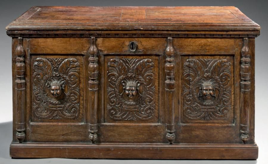 a renaissance chest pilettes oak wood h 73 cm w 141 cm d 64 cm france normandy. Black Bedroom Furniture Sets. Home Design Ideas