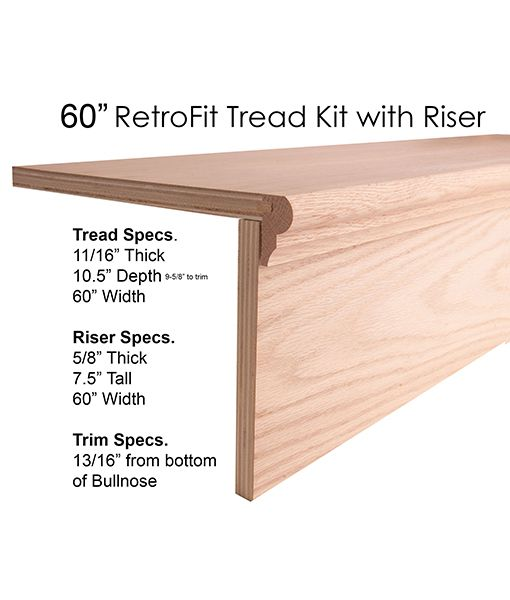 60″ Retrofit Tread Kit With Riser Stair Remodel Cheap Stair | 48 Inch Red Oak Stair Treads | Stair Parts | Prefinished | Wood | Lowes | Stair Nosing