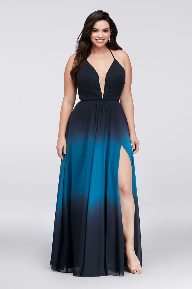 Ombre Chiffon Halter A Line Plus Size Gown Clothing Dresses