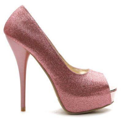 Ollio Womens Shoes Platforms Pumps Stilettos Open Toe Multi Colored Glitter  High Heels d4174546f494