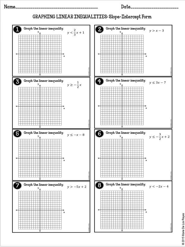 Graphing Linear Inequalities Practice – Algebra 1 Practice Worksheets with Answers