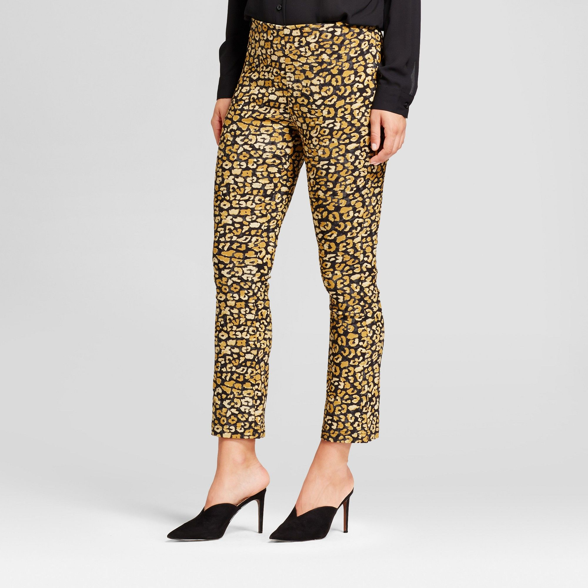 5e82f2a39afe6 Women's Crop Flare Pants - Who What Wear Yellow Cheetah 10 ...