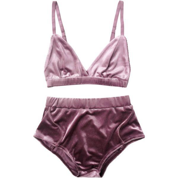 6e2e27223f0f5 High Waist Velvet Bra Set Purple ( 16) ❤ liked on Polyvore featuring  intimates