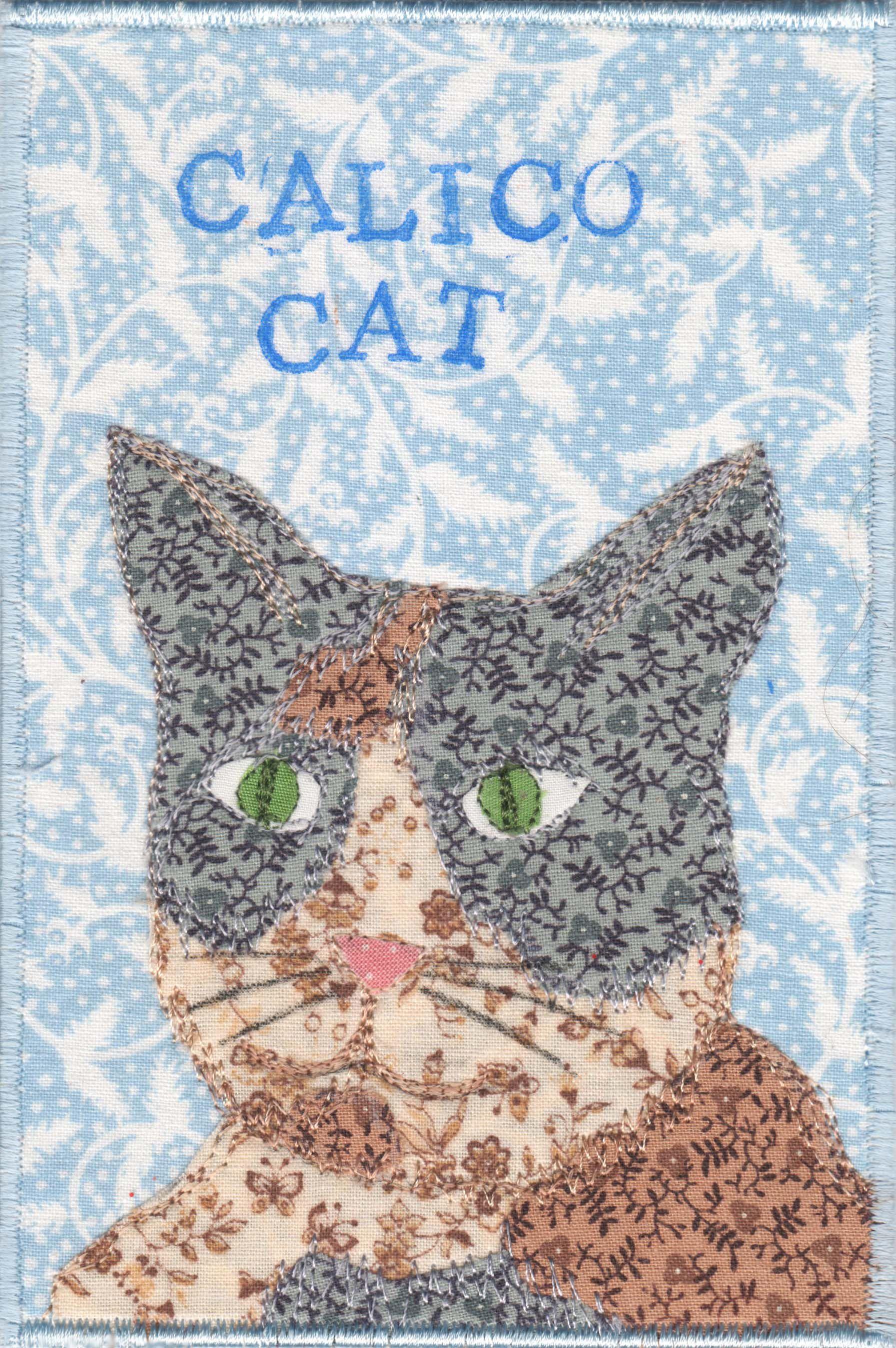 Calico Cat fabric postcard by Diane Herbort